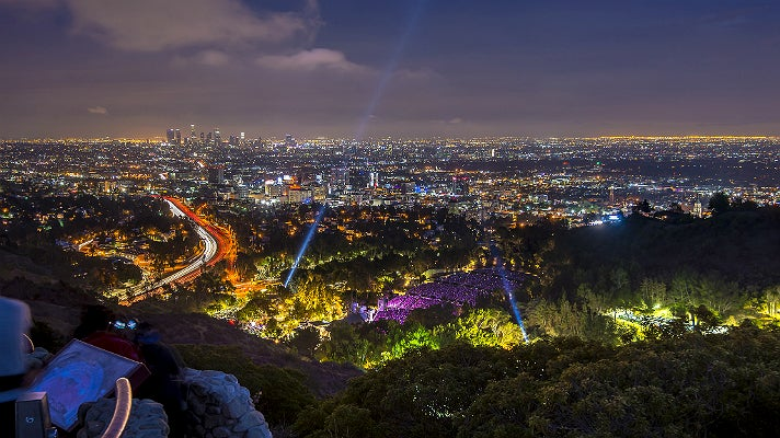 Night view from Hollywood Bowl Overlook on Mulholland Drive