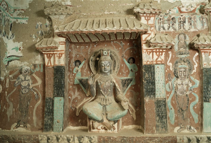 "Cave 275, statue of Maitreya, from ""Caves of Dunhuang"" at the Getty Center"