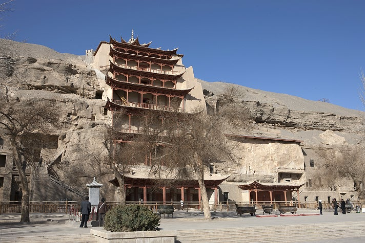 "Nine-story temple (Cave 96) at Mogao, from ""Cave Temples of Dunhuang"" at the Getty Center"