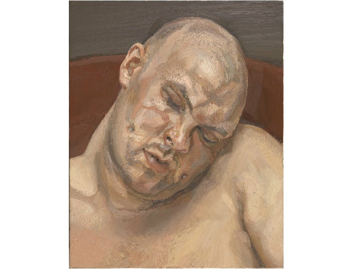"""Leigh Bowery,"" 1991, by Lucian Freud at the Getty Center"