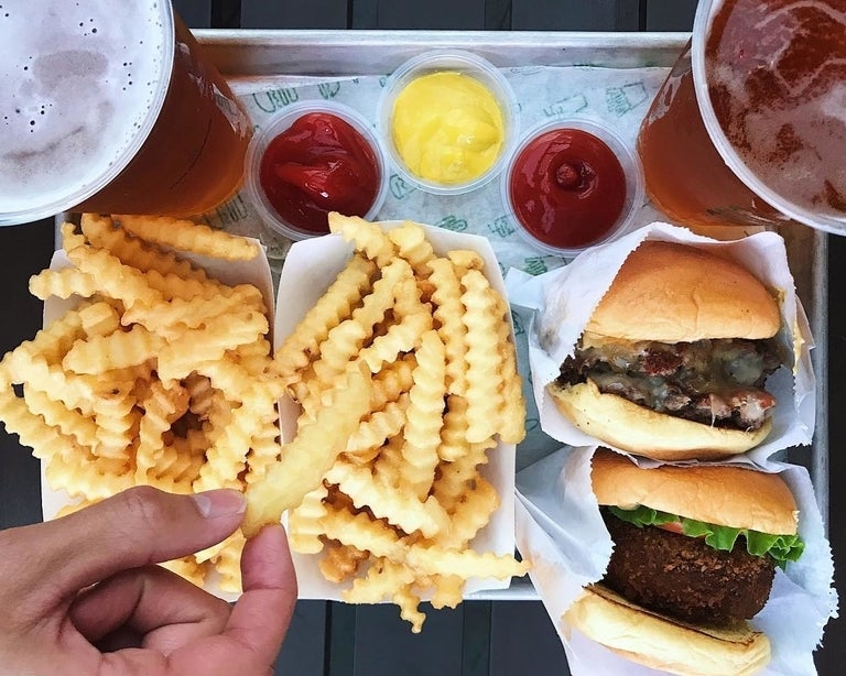 Roadside Double, 'Shroom Burger and fries at Shake Shack Century City