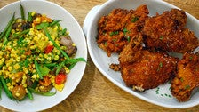 Succotash and fried chicken at Huckleberry