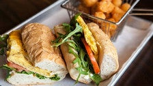 Egg & Cheese po'boy with tater tots at the Royal Hollywood