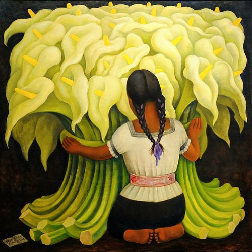 """""""The Flower Vendor (Girl with Lilies)"""" by Diego Rivera at Norton Simon Museum"""